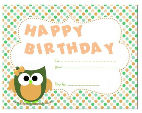 gift card birthday template gift certificate template certificate templates and gift