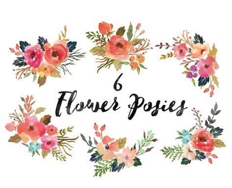 Flower Posies Weddings by 6 X Watercolor Flower Posies Png Files Wedding Set