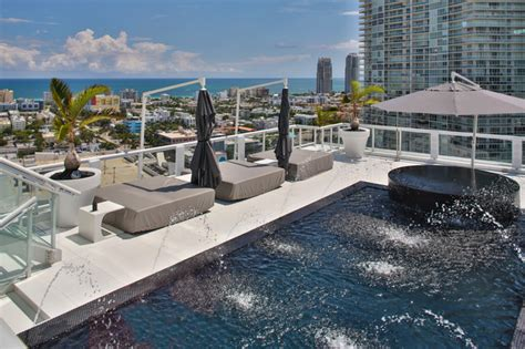 Miami Penthouse Mancave Rooftop Pool   Contemporary   Pool