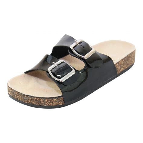 flat mules shoes jwf flat cork wedge slip on mule sandals shoes patent