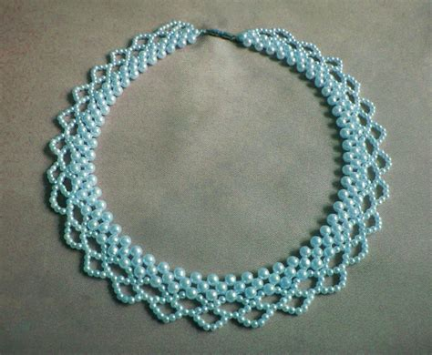 bead design free pattern for necklace blue pearls magic