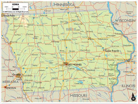 iowa maps physical map of iowa ezilon maps