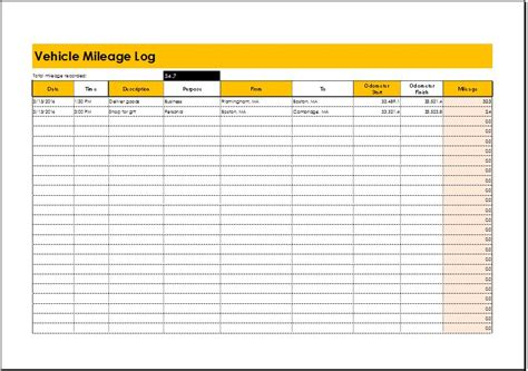 Mileage Log Excel Mileage Log Templates For Ms Excel Word Document Templates