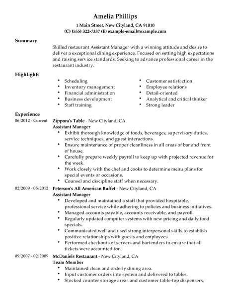 restaurant manager cv format best restaurant assistant manager resume exle livecareer