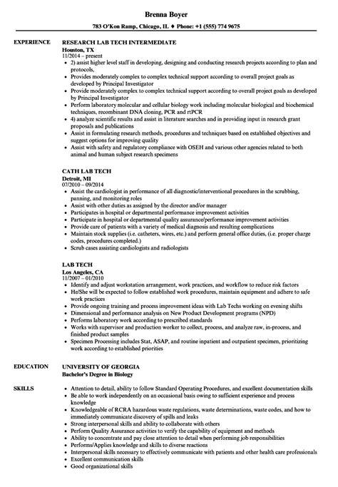 lab tech resume sles velvet