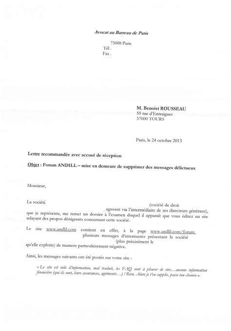 Exemple Lettre Mise En Demeure Impayé Exemple Mise En Demeure Diffamation Document