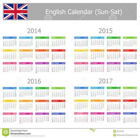 A Calendario In Inglese Calendario Inglese 2014 2017 Di Tipo 1 Sun Sat Fotografia