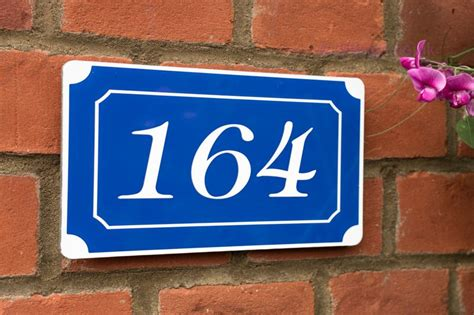 any number and or letters style house plaque blue