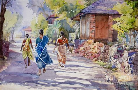 Kitchen Backdrops anjarle village india painting by seema ghiya