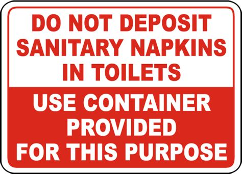 Sign Label Do Not Deposite Sanitaty Napkins Paper Towel In Toilet no sanitary napkins in toilet sign d5718 by safetysign