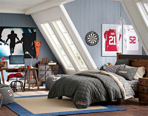 bedrooms for teenage guys teenage guys bedroom ideas football inspired pbteen