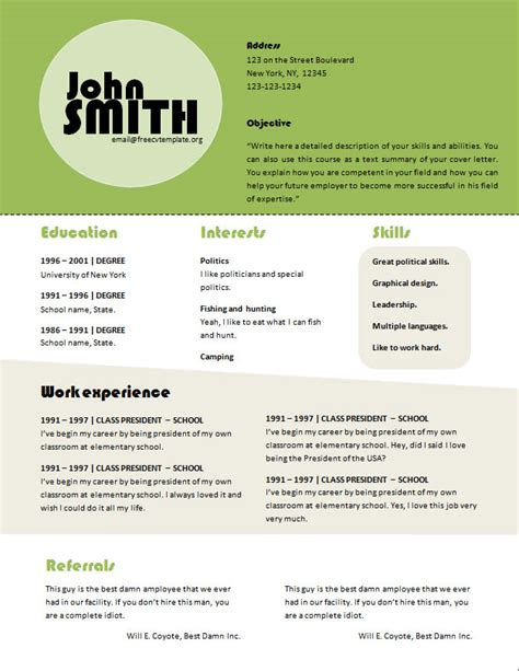 cv exle word document free cv resume template 611 to 615 free cv template dot org
