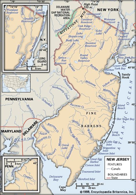 physical map of new jersey new jersey physical features encyclopedia