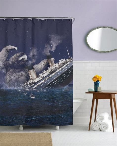 slothzilla shower curtain funny shower curtains 15 beautiful designs