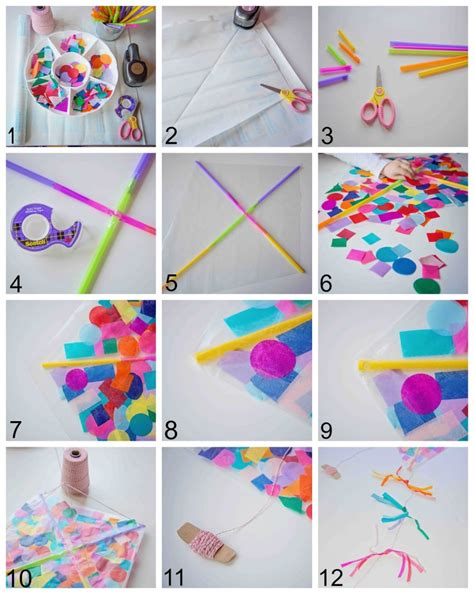 Make A Paper Kite - contact paper confetti kite parentsavvy