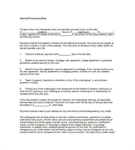 secured loan template secured promissory note template template design