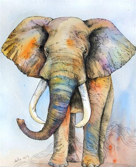 ooak 8x10 original watercolor elephant nursery by asho on etsy
