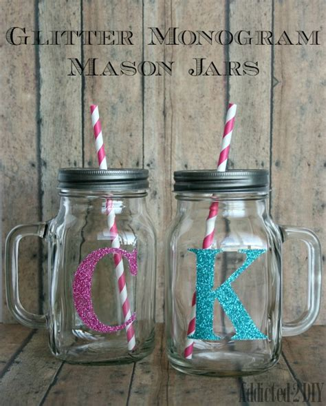 Craft Ideas For Kitchen by Glitter Monogram Mason Jars Addicted 2 Diy