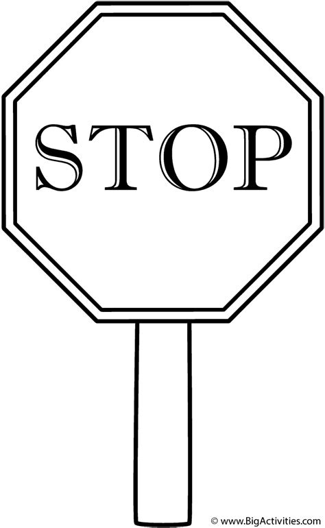 stop sign with border on a post coloring page safety