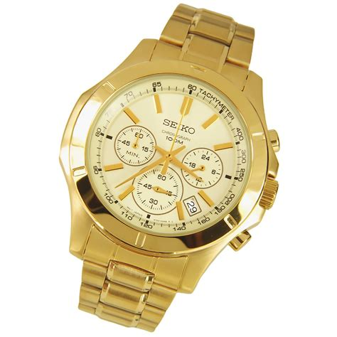 seiko chronograph stainless steel mens gold ssb112p1