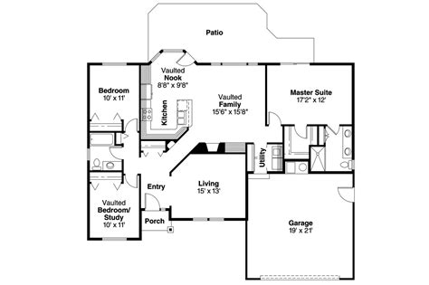 Fllor Plans Ranch House Plans Bingsly 30 532 Associated Designs