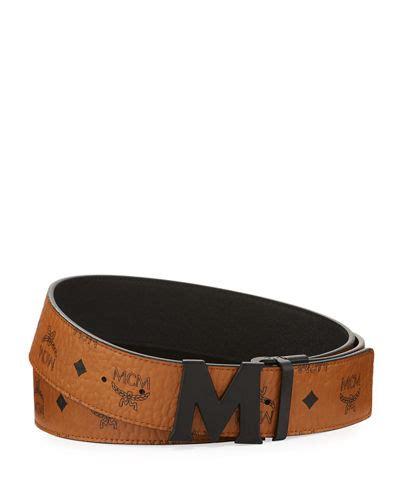 m logo designer belt mcm at neiman