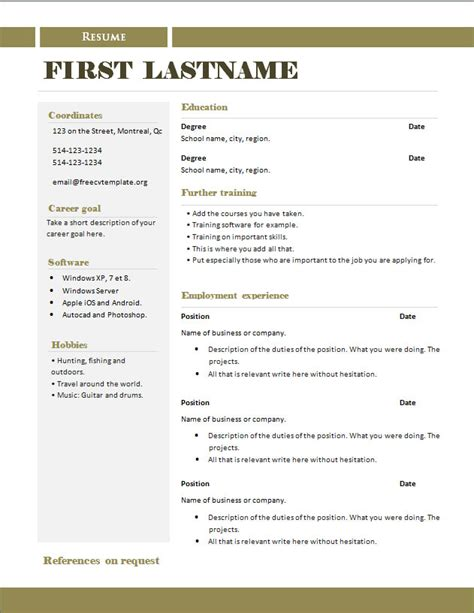 template for cv resume free cv templates 289 to 295 free cv template dot org