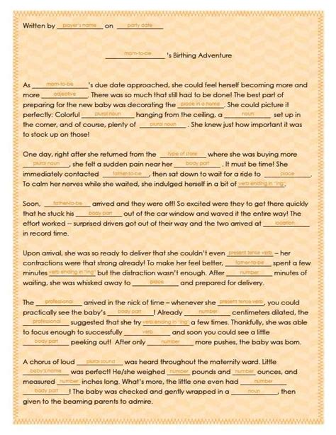 Mad Libs Baby Shower Printable by Free Printable Baby Shower Mad Lib Tips Tricks Free