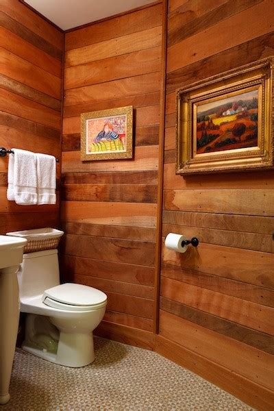bathroom with wood paneling eclectic bathroom other