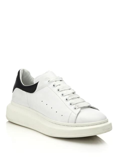 mcqueen sneakers lyst mcqueen leather sneakers in white