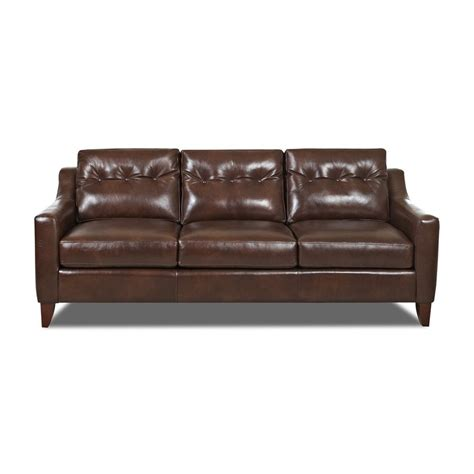 Aspen Leather Sofa by Shop Klaussner Audrina Burgundy Aspen Leather Sofa At