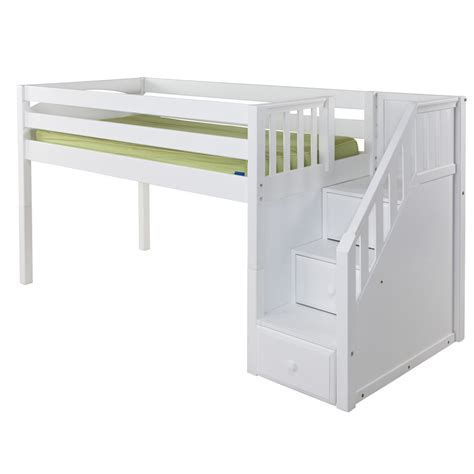 maxtrix great loft bed in white w stairs slat bed ends