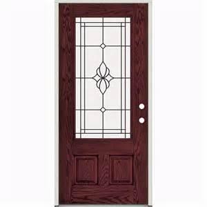 36 quot prefinished prehung fiberglass exterior door unit lh
