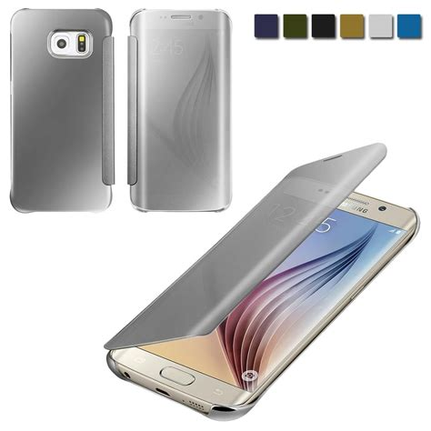 Flip Cover Mirror Samsung S7 Flat Flip View Flipcase Auto Lock for samsung galaxy s6 mirror flip clear acrylic leather view cover ebay