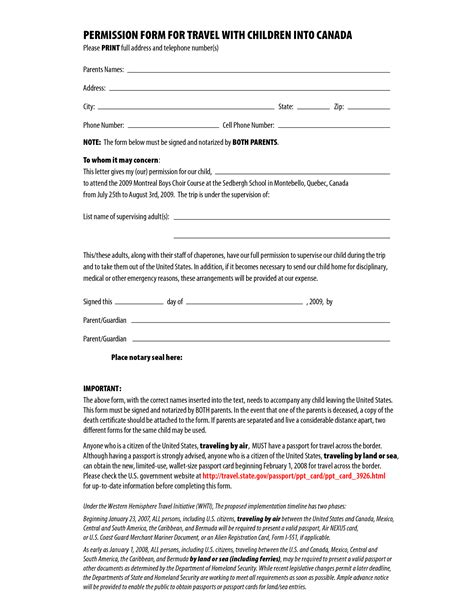 authorization letter for child to travel with one parent permission form for travel with children into canada by