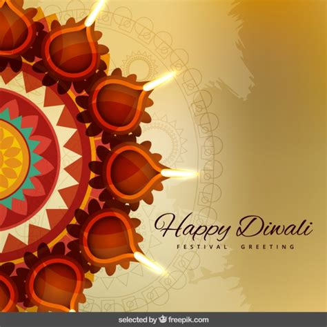 diwali card templates diwali greeting with ornaments vector free