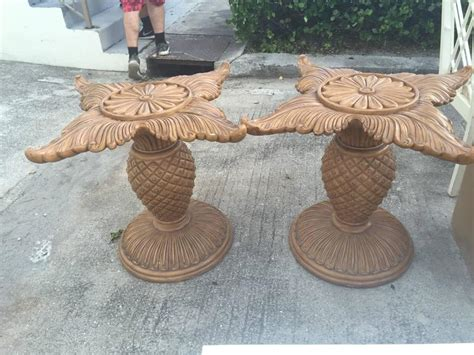 pineapple base dining table pair of wood carved pineapple dining table or desk bases