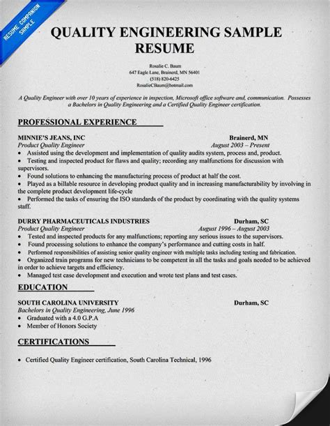Resume Template Quality by Quality Engineer Resume Sle Doc Resume Template
