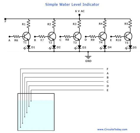 simple water diagram a simple water level indicator project with circuit