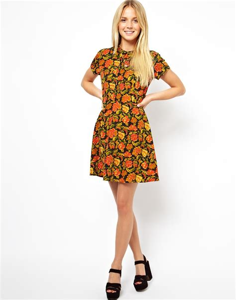 Patio Dresses by Pretty Casual Day Dress Floral Skater Dress With Collar