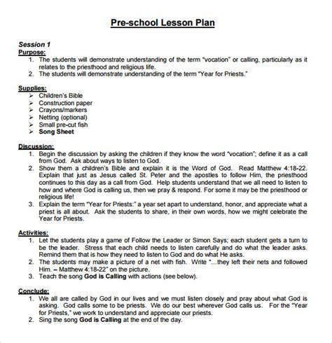 sample preschool lesson plan   word formats
