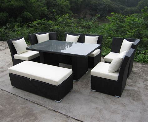 Patio Sectional Sofa Jamaican Sofa And Dining Set In Brown Wicker Ivory Fabric