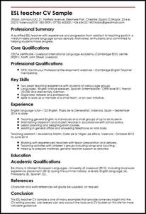 Curriculum Vitae Chemistry by Esl Teacher Cv Sample Myperfectcv