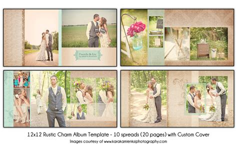 rustic charm 12x12 wedding album template 10 spread