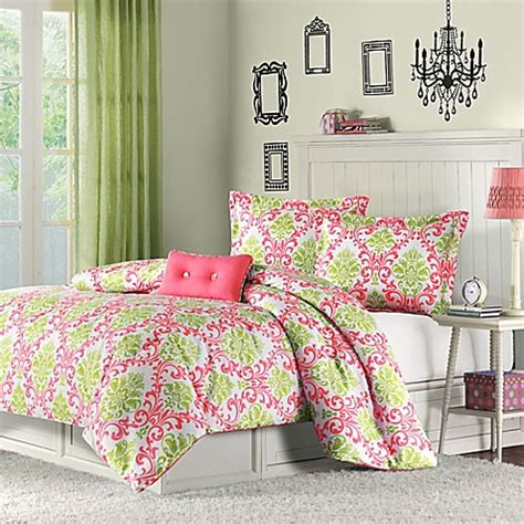 mizone katelyn reversible comforter set in coral bed