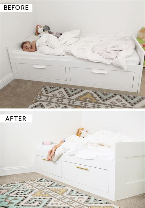 Brimnes Bed Hack | ikea hack adding brass pulls to the brimnes bed ikea