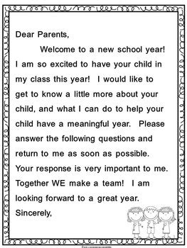 back to parent letter and survey by educating everyone 4 life