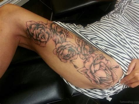 tattoos roses and vines 74 superb tattoos on thigh
