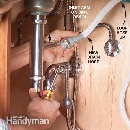 Portable Dishwasher Faucet Connector How To Replace A Dishwasher The Family Handyman