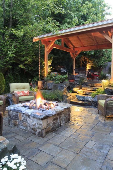 backyard landscaping with fireplace landscape traditional